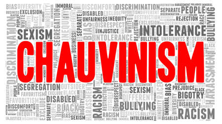 Chauvinism vector illustration word cloud isolated on a white background.