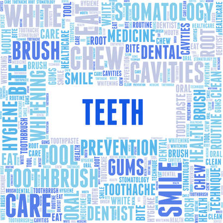 Teeth vector illustration word cloud isolated on a white background.