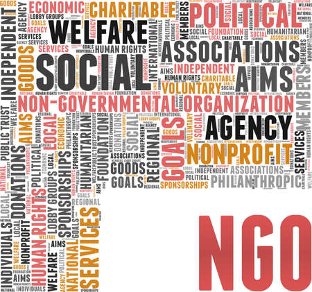Non-governmental organization - NGO vector illustration word cloud isolated on white background.