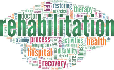Rehabilitation vector illustration word cloud isolated on a white background.