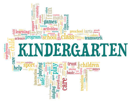 Kindergarten vector illustration word cloud isolated on a white background. Illustration
