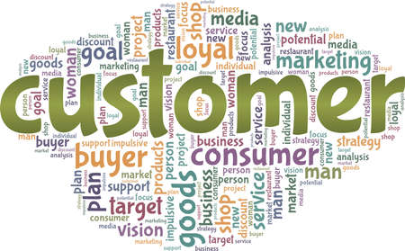 Customer vector illustration word cloud isolated on a white background.