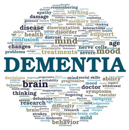 Dementia vector illustration word cloud isolated on a white background.
