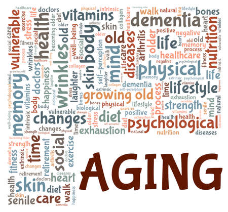 Aging vector illustration word cloud isolated on a white background. Illustration