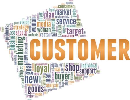 Customer vector illustration word cloud isolated on a white background. Vektorgrafik