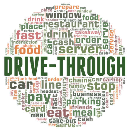Drive-through vector illustration word cloud isolated on a white background. Illustration