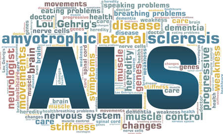Amyotrophic lateral sclerosis - ALS - Lou Gehrig's disease vector illustration word cloud isolated on a white background.