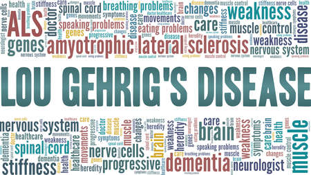 Amyotrophic lateral sclerosis - ALS - Lou Gehrig's disease vector illustration word cloud isolated on a white background. Vector Illustration