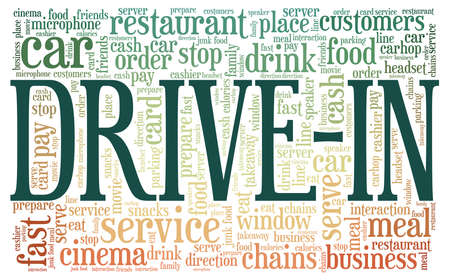 Drive-in vector illustration word cloud isolated on a white background. Illustration