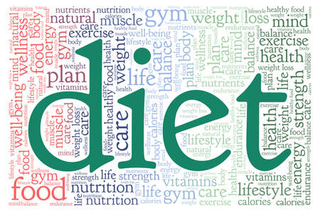 Diet vector illustration word cloud isolated on a white background.