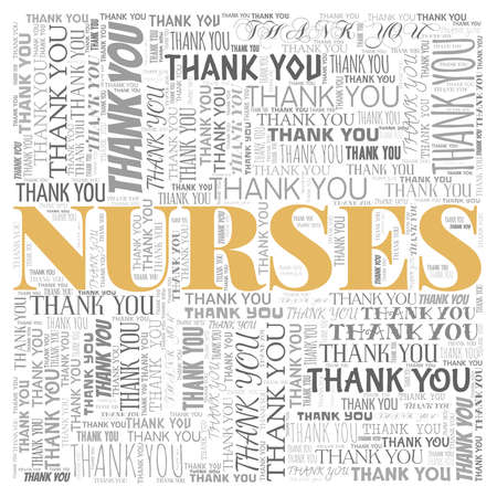 Thank you nurses vector illustration word cloud isolated on a white background.