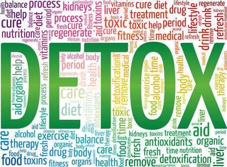 Detox vector illustration word cloud isolated on a white background.