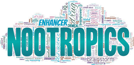 Nootropics vector illustration word cloud isolated on a white background.