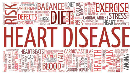 Heart disease vector illustration word cloud isolated on a white background.