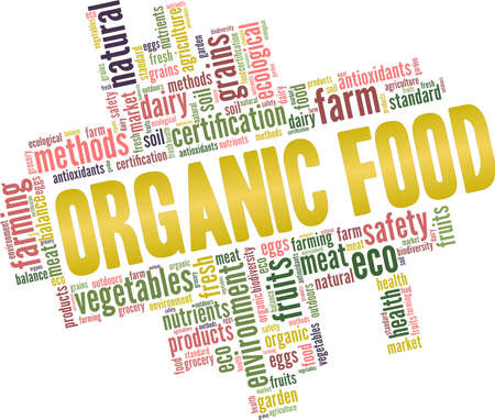 Organic food vector illustration word cloud isolated on a white background. Vettoriali