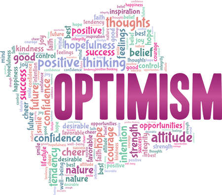 Optimism vector illustration word cloud isolated on a white background.