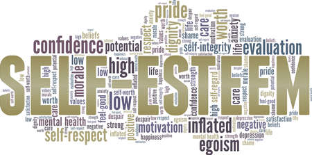 Self-esteem vector illustration word cloud isolated on a white background.