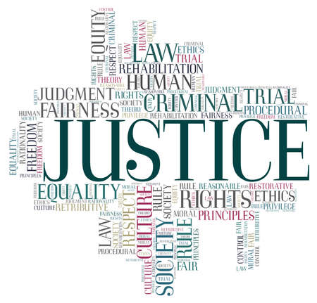 Justice vector illustration word cloud isolated on a white background.