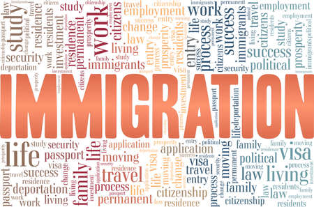 Immigration vector illustration word cloud isolated on a white background. Illustration
