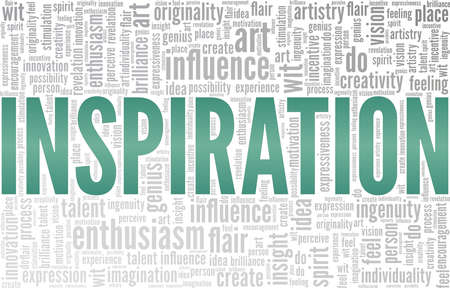 Inspiration vector illustration word cloud isolated on a white background. Vettoriali