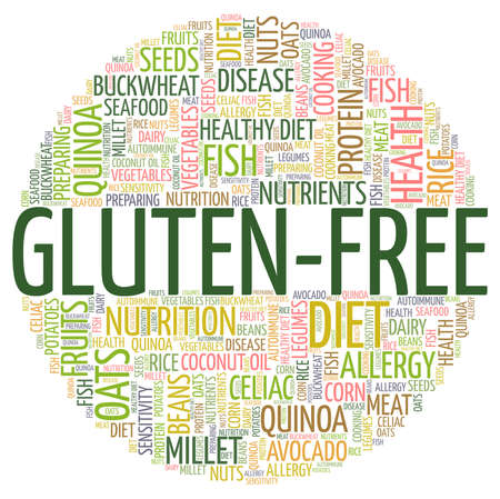 Gluten-free vector illustration word cloud isolated on a white background. Illusztráció