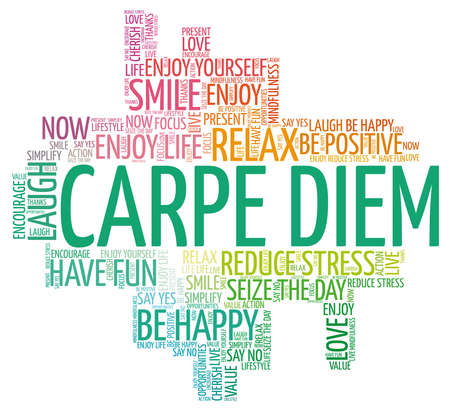 Carpe diem - seize the day vector illustration word cloud isolated on a white background.