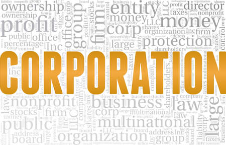 Corporation vector illustration word cloud isolated on a white background. Illusztráció