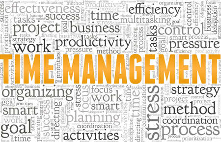 Time management vector illustration word cloud isolated on a white background. Illusztráció
