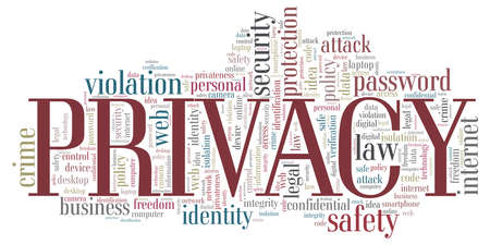 Privacy vector illustration word cloud isolated on a white background.