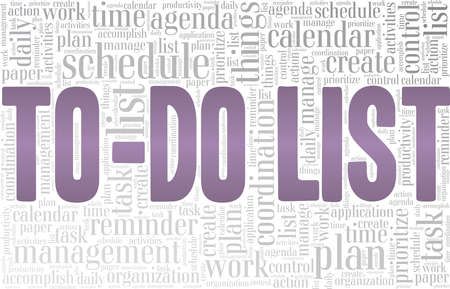 To-do list vector illustration word cloud isolated on a white background.
