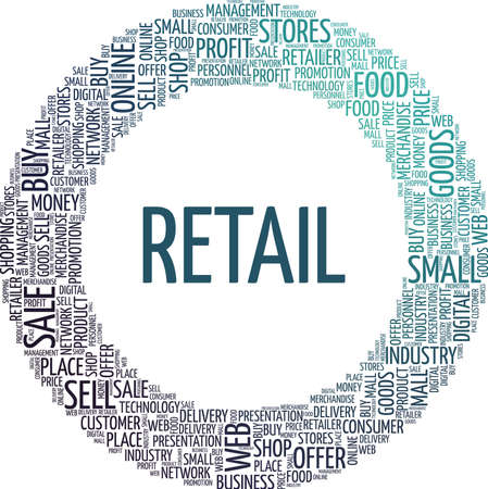 Retail vector illustration word cloud isolated on a white background.