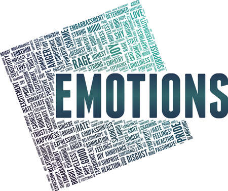 Emotions vector illustration word cloud isolated on a white background. Ilustração