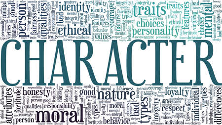 Character vector illustration word cloud isolated on a white background. Vetores