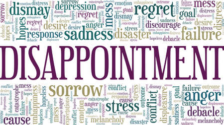 Disappointment vector illustration word cloud isolated on a white background. Vectores