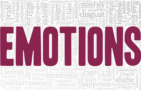Emotions vector illustration word cloud isolated on a white background.