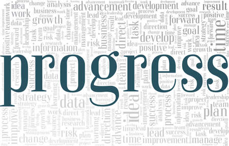Progress vector illustration word cloud isolated on a white background.
