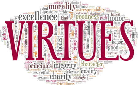 Virtues vector illustration word cloud isolated on a white background.