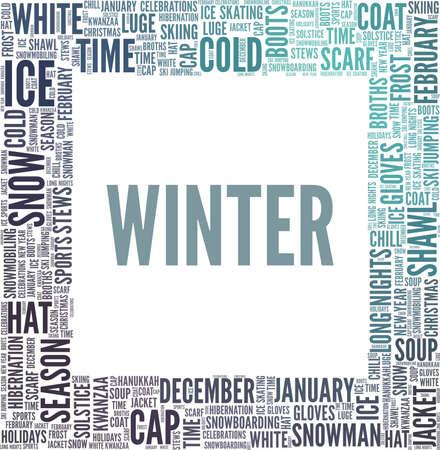 Winter vector illustration word cloud isolated on a white background. Ilustração Vetorial