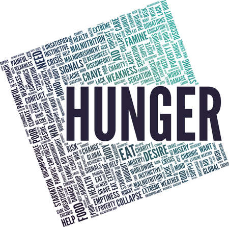 Hunger vector illustration word cloud isolated on a white background.