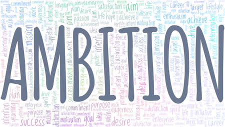 Ambition vector illustration word cloud isolated on a white background.