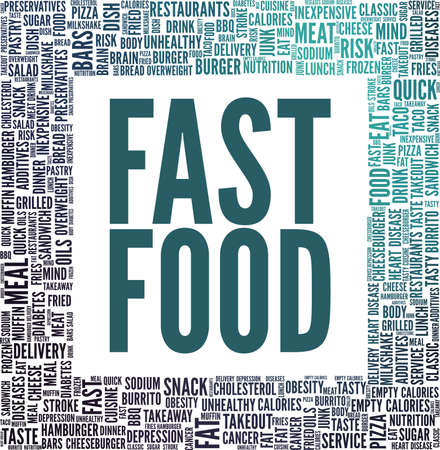 Fast food vector illustration word cloud isolated on a white background. Çizim