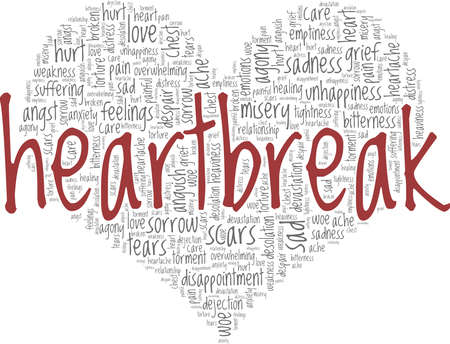 Heartbreak vector illustration word cloud isolated on a white background.