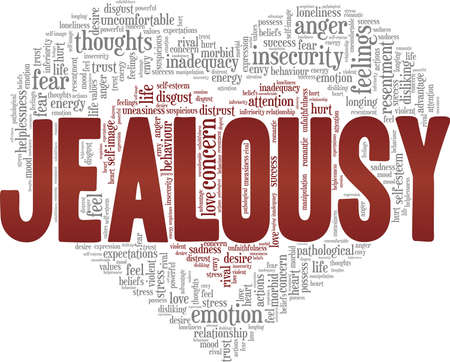 Jealousy vector illustration word cloud isolated on a white background.