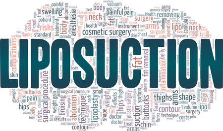 Liposuction vector illustration word cloud isolated on a white background.