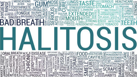 Halitosis vector illustration word cloud isolated on a white background.