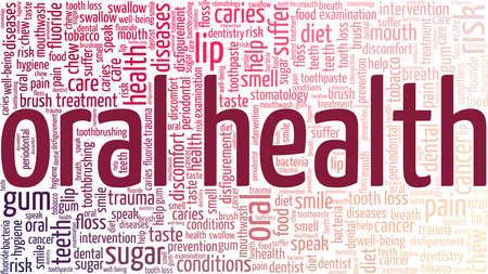 Oral health vector illustration word cloud isolated on a white background.