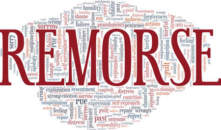 Remorse vector illustration word cloud isolated on a white background.