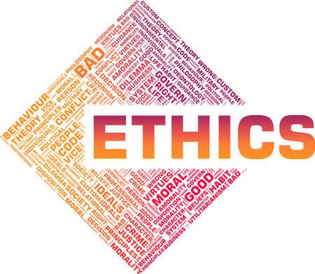 Ethics vector illustration word cloud isolated on a white background. Vecteurs