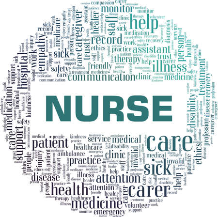 Nurse vector illustration word cloud isolated on a white background.