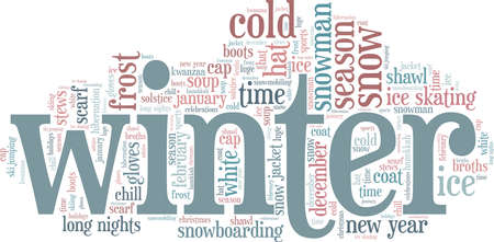 Winter vector illustration word cloud isolated on a white background.